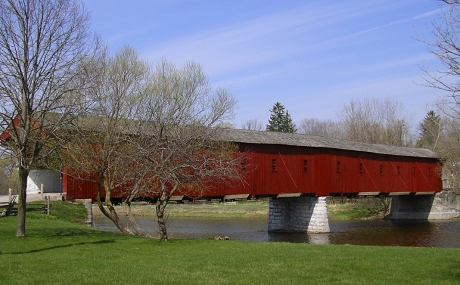West Montrose covered bridge - red wooden bridge spanning the Grand River